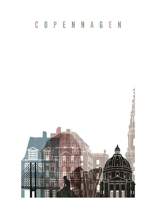- Beautiful drawing of the skyline and landmarks of Copenhagen.