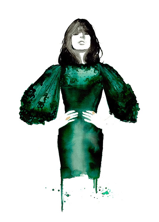 - Beautiful fashion drawing of a woman in an emerald dress.