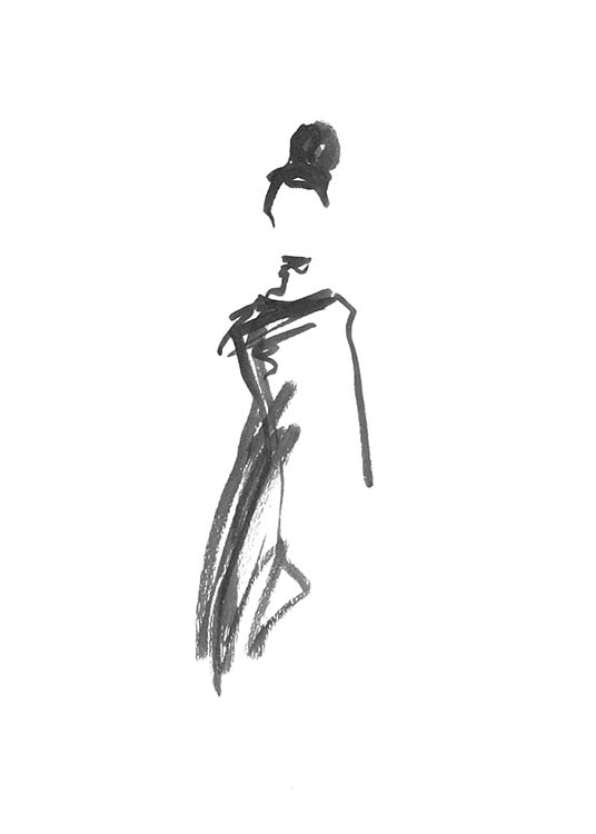 - Simple black and white drawing of a woman with a bun wearing a dress.