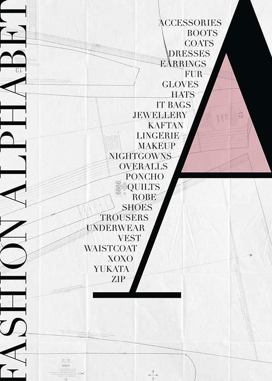 - Stylish fashion poster with the fashion alphabet and the letter A.