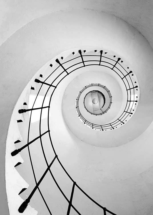 - Modern photo poster in black and white with a white spiral staircase with black railings