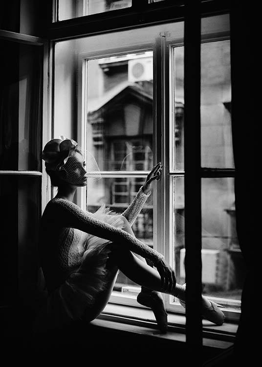 Ballerina In Window Poster / Black & white at Desenio AB (2297)