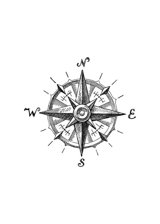 - Stylish drawing of an old compass in black and white.