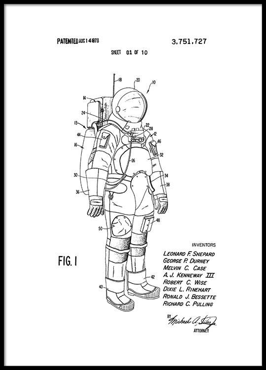 Space Suit Patent Poster