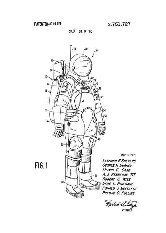 - Black and white patent drawing of the first space suit for astronauts.