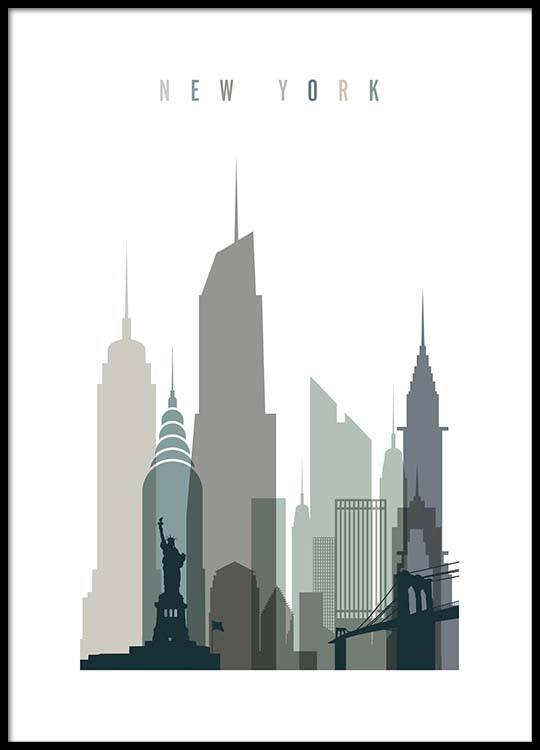 new york skyline poster. Black Bedroom Furniture Sets. Home Design Ideas