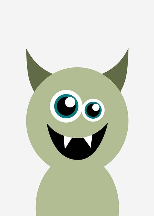 - Poster with a sweet, green little devil called Hedwig on a grey background- suitable for any children's room.