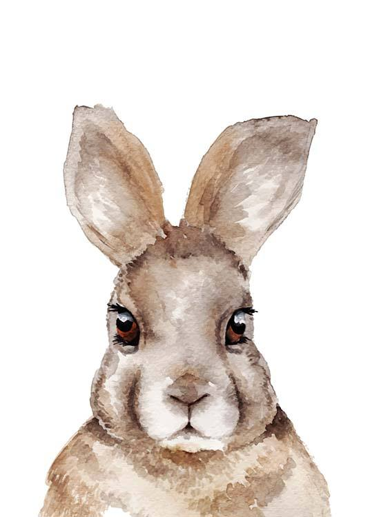 - My name is hare... Great animal poster with a portrait of a hare in watercolours.