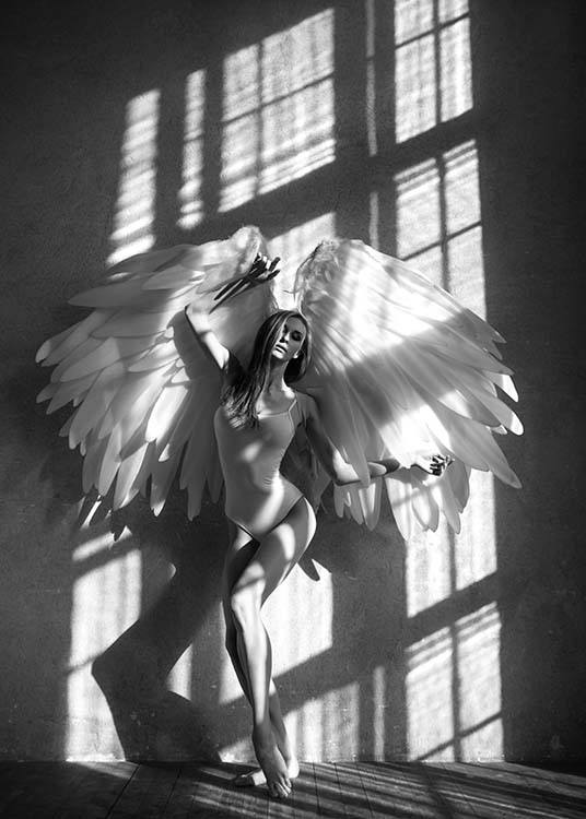 - Black and white photo art poster showing a woman with large angel wings in a sunlit room.
