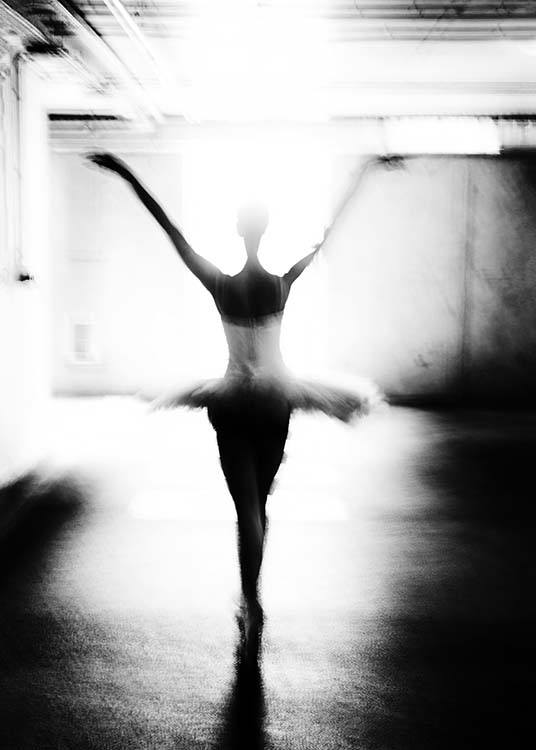- Black and white photo art showing a ballerina in action.
