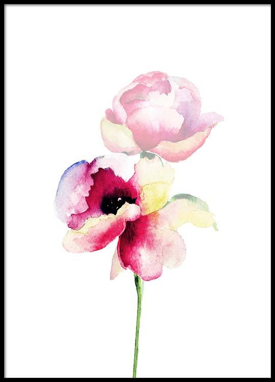 Watercolor Flower One Poster