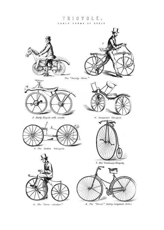 - Retro poster with various old bike models in black and white.
