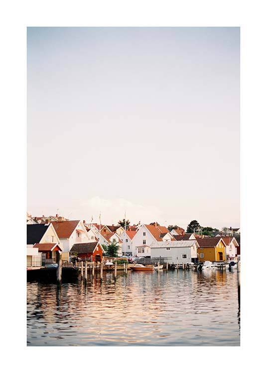 - Beautiful poster with a view of some colourful boathouses on the waterfront.
