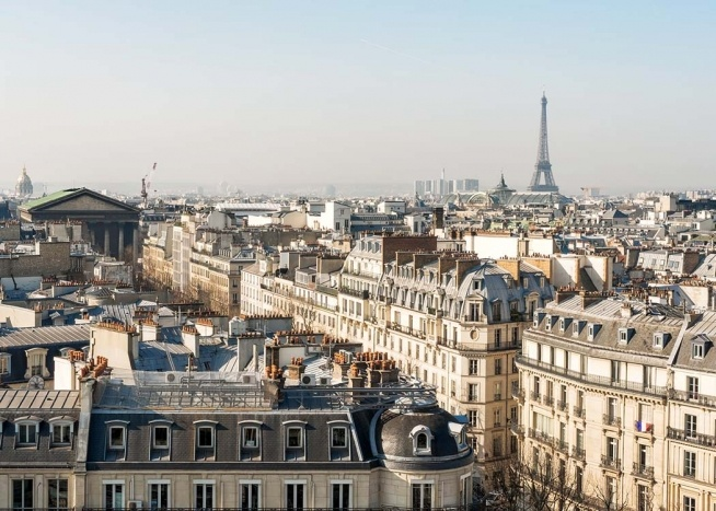 rooftop view in paris poster. Black Bedroom Furniture Sets. Home Design Ideas