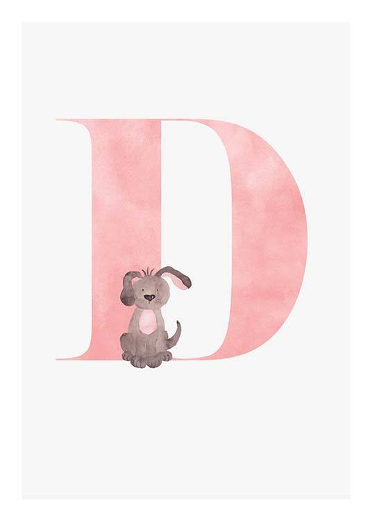 - Cute children's poster for our loved ones whose name begins with D.