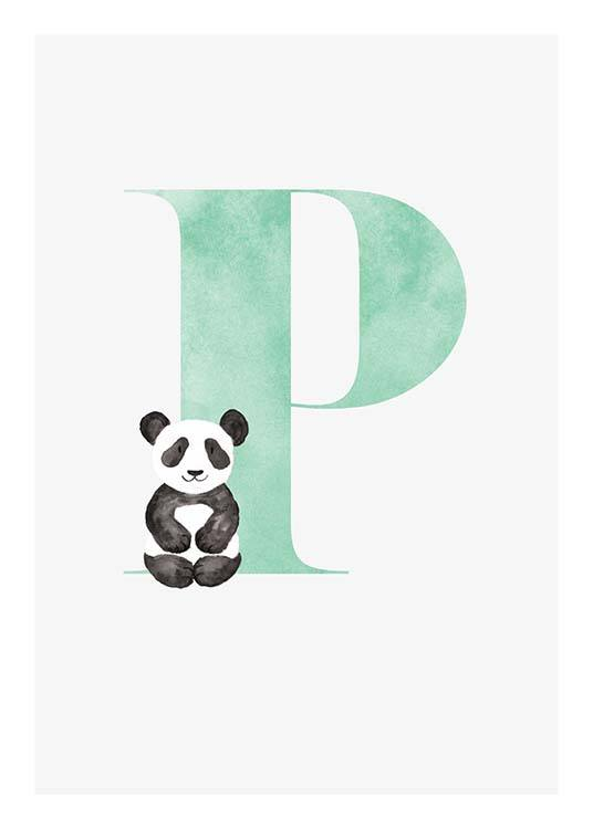 - Cute children's poster for our loved ones whose name begins with P.