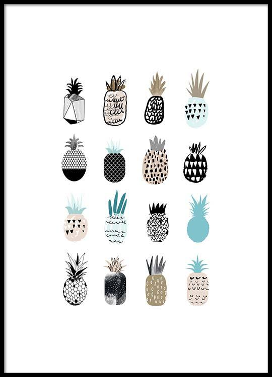 cute pineapples poster