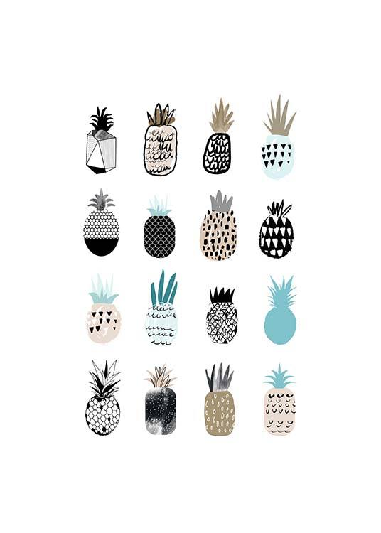 - Beautiful poster with various artfully decorated pineapples.