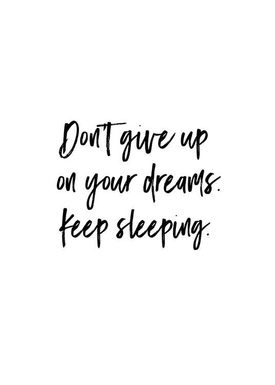 "- Modern text poster with the quote ""Don't give up on your dreams. Keep sleeping"" suitable for any bedroom."
