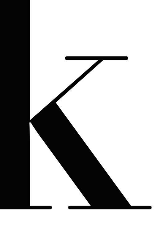 - Simple poster with the letter K in black and white.