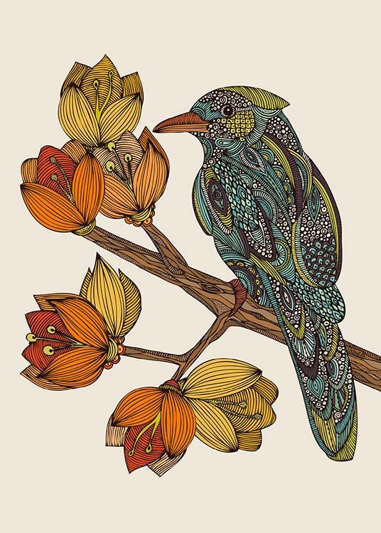 - Beautiful illustration of a wonderfully feathered bird on a branch with beautiful flowers.