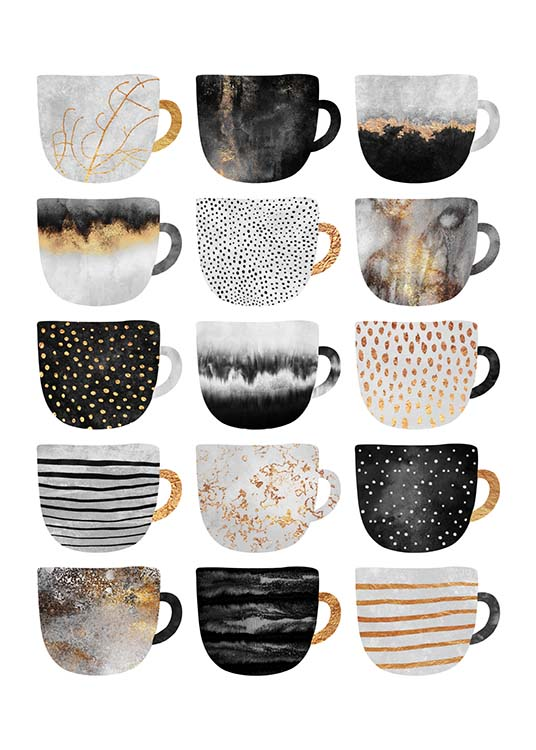 Coffee Cups Poster Elisabeth Fredriksson Graphic Design With Coffee Cups Desenio Co Uk