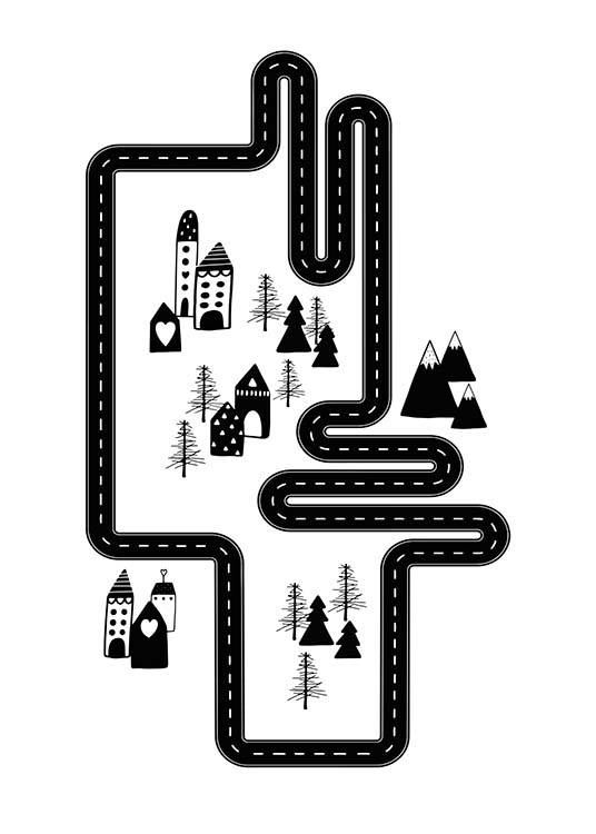 Car Track City Poster / Kids wall art at Desenio AB (3118)