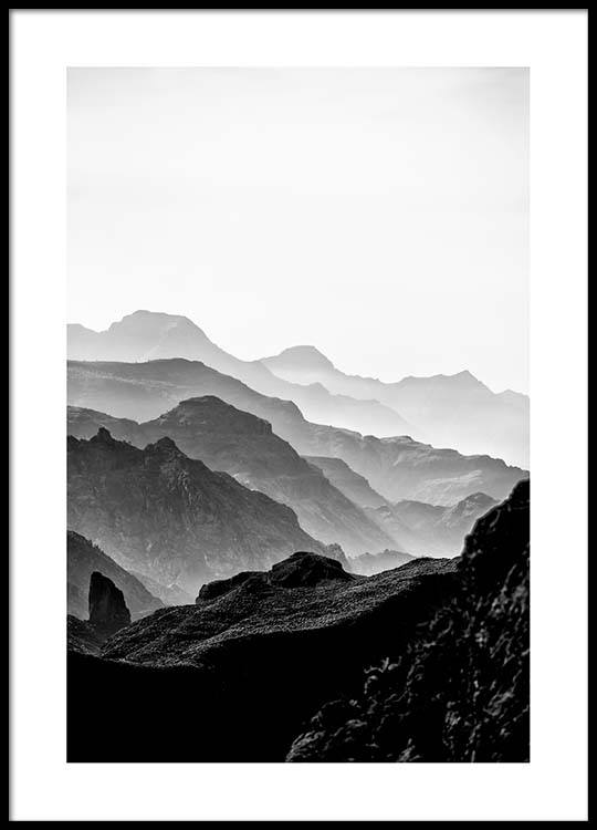 Black rocky mountains poster