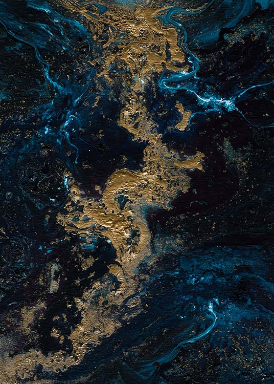 – Abstract oil painting with blue and gold swirls