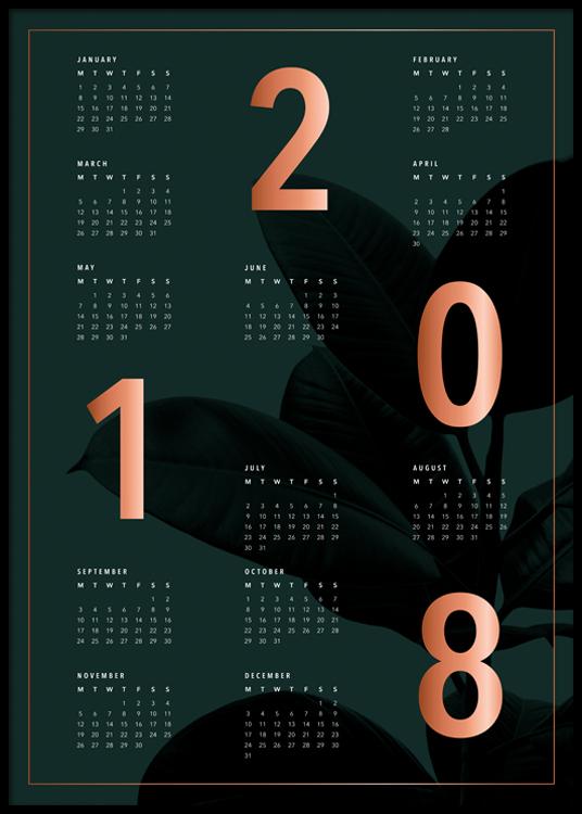Calendar Poster Size : Wall calendar in dark green buy calendars online