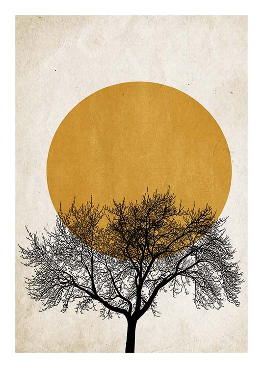 – Graphic illustration with a black tree in front of a dark yellow sun and beige background