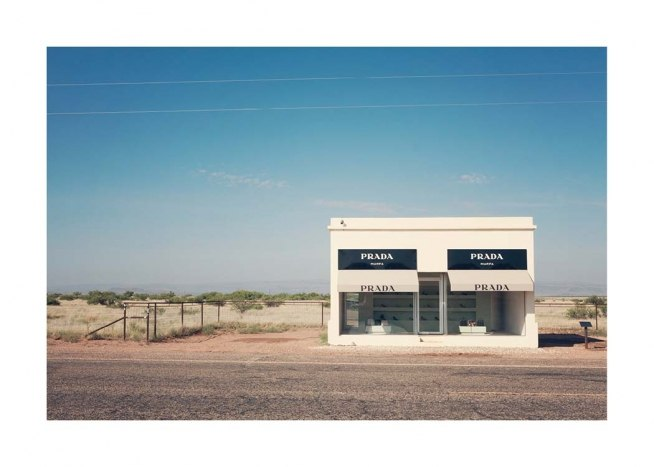 - Photograph of the well-kown Prada Marfa fake shop located in a desert in Texas, USA