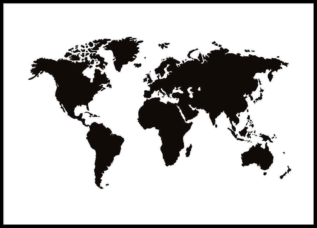 World map poster black and white prints and posters with maps print with a black and white world map stylish prints online for a good price gumiabroncs Choice Image