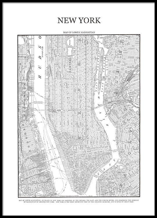 new york map poster prints and posters with a map of. Black Bedroom Furniture Sets. Home Design Ideas