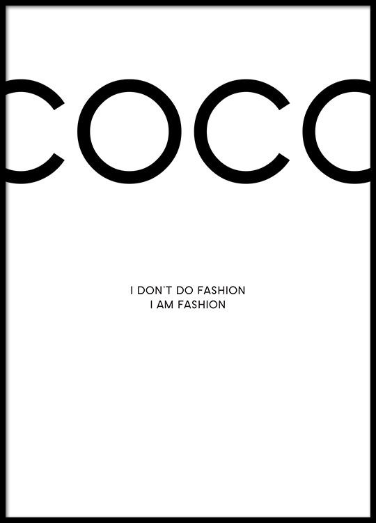 Print with chanel poster with citations from coco chanel online