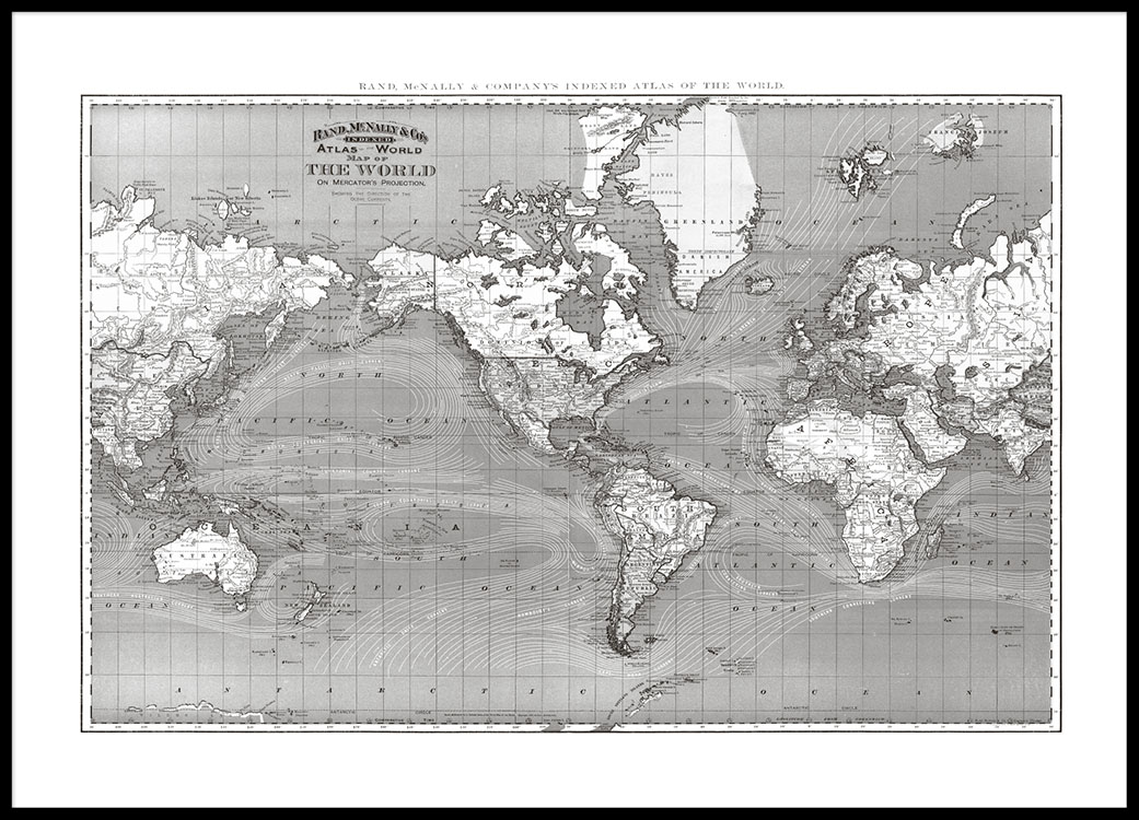 Poster with a world map in black and white print with a map horizontal print with a black and white world map buy for world maps online gumiabroncs Images