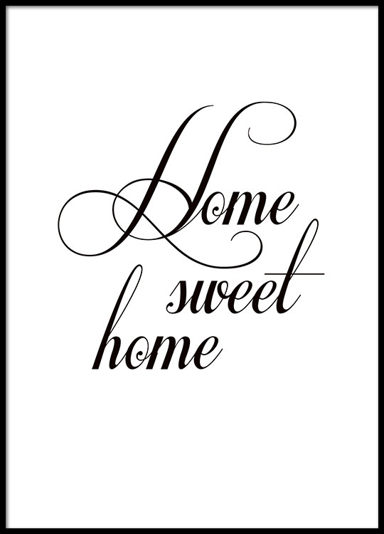 poster home sweet home typography print 21x30cm. Black Bedroom Furniture Sets. Home Design Ideas