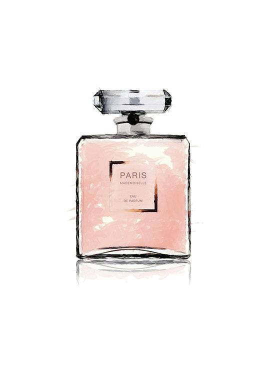 – Pink watercolour illustration of a perfume bottle with the word PARIS