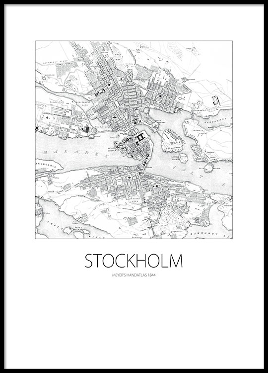 poster karta stockholm Print of a map of Stockholm | Stockholm posters for prints  poster karta stockholm