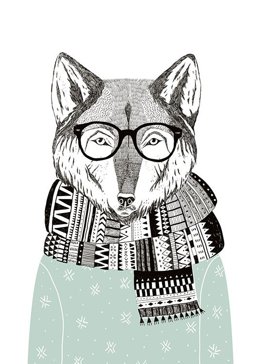 Hipster posters for trendy interior design with animals