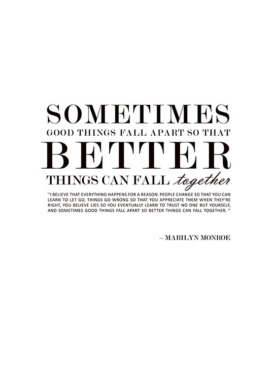 Marilyn Monroe Quotes Better Things Can Fall Together: Poster With Quote By Marilyn Monroe. MHMP Design