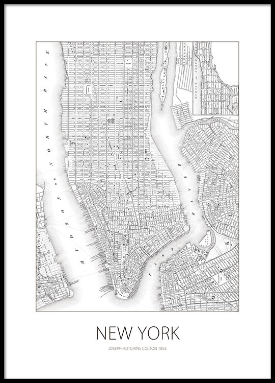 poster print with map of new york prints online. Black Bedroom Furniture Sets. Home Design Ideas