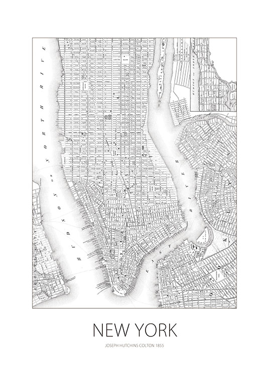 New York Karta, Posters / Maps & cities at Desenio AB (7753)