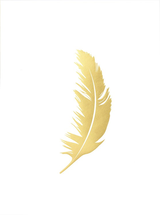 stylish poster with feather in gold