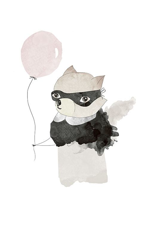 Mr Raccoon Pink, Posters  / Kids wall art at Desenio AB (7777)