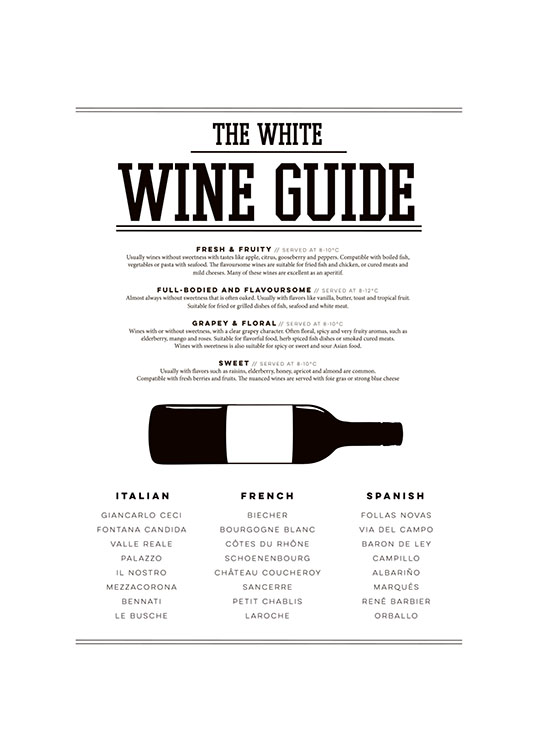 White Wine Guide, Poster  / Kitchen at Desenio AB (7803)