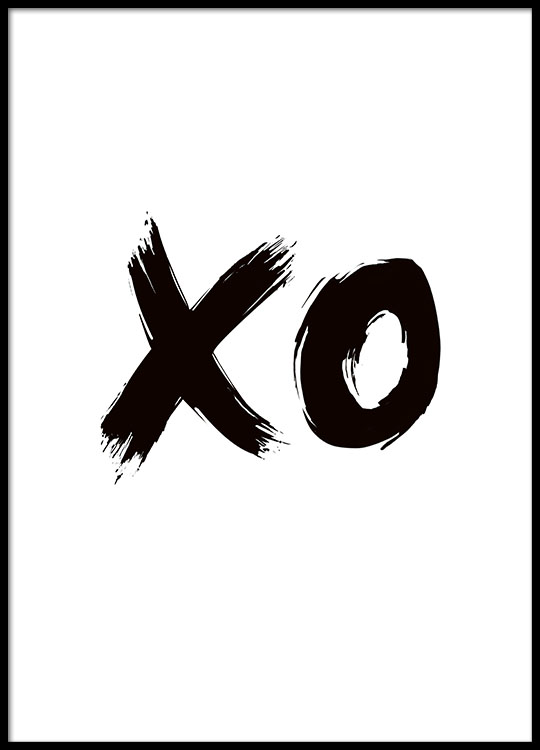 Black And White Illustrated Poster With Text Xo