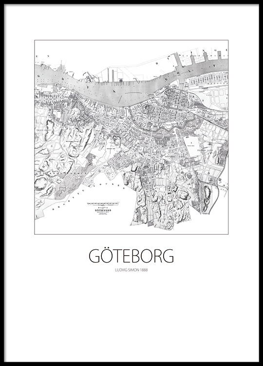 karta göteborg poster Black and white poster with map of Göteborg, stylish prints karta göteborg poster