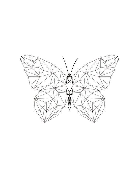 graphic poster with geometric butterfly. Black Bedroom Furniture Sets. Home Design Ideas