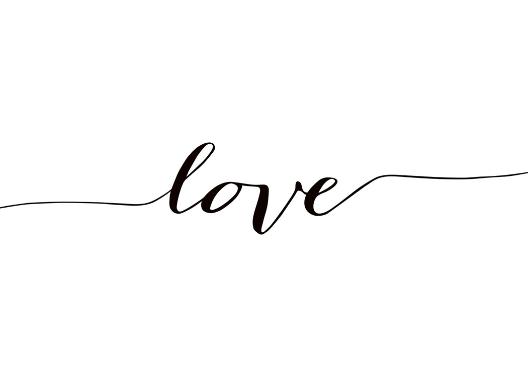 Print With Text Love In Cursive Black And White Poster
